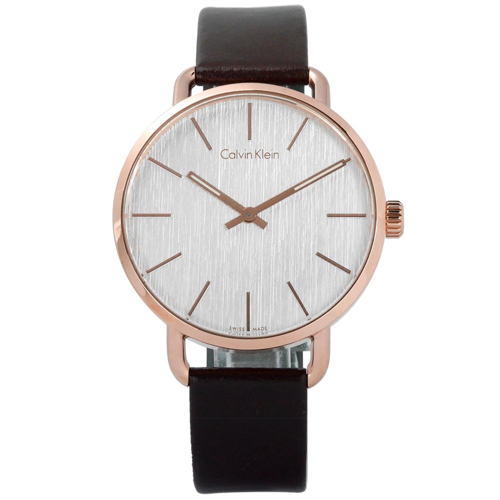 CK EVEN 沉靜雅緻岩紋皮革手錶-銀白x玫瑰金框x深褐/42mm