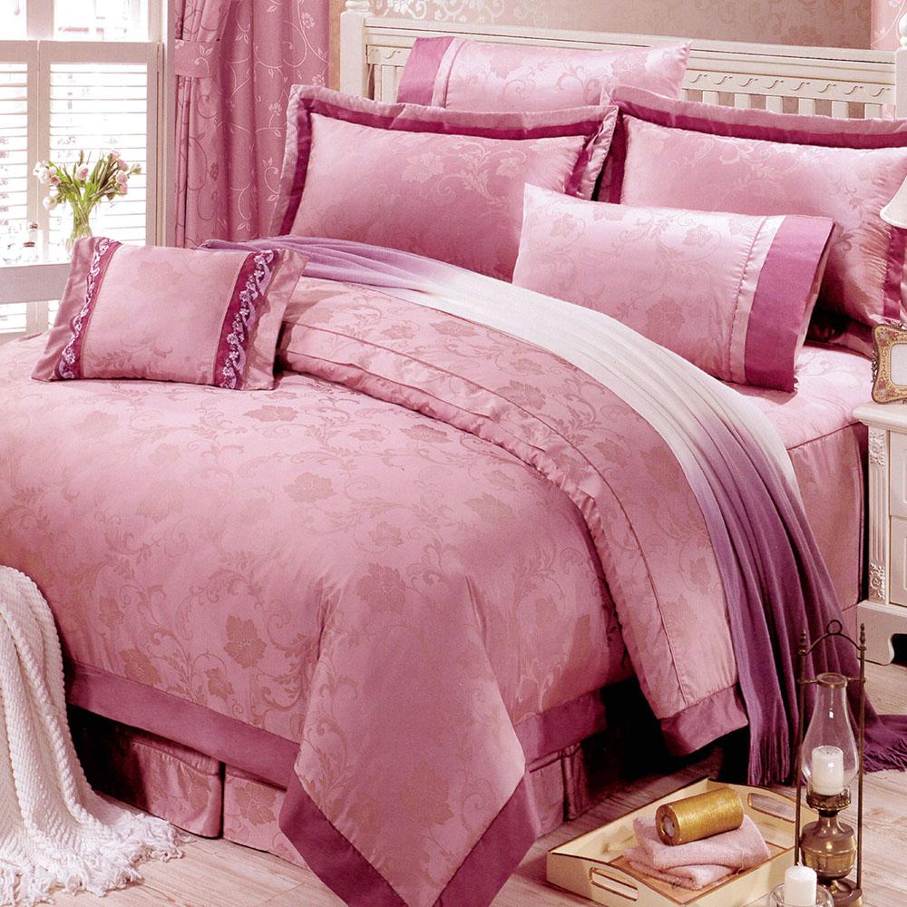 RODERLY花嫁系列-精梳純棉緹花 兩用被床罩組 加大八件式-幸福花園