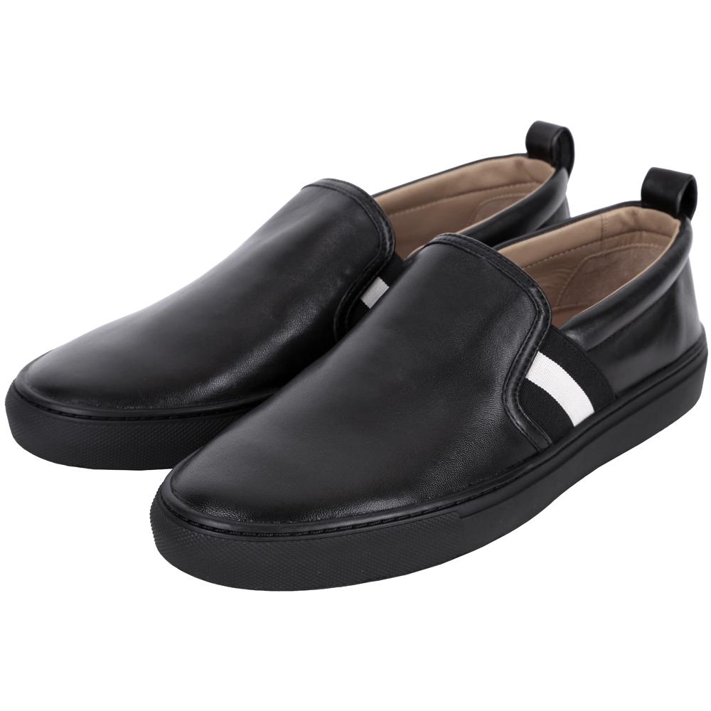 BALLY HERALD 經典織帶拼接小羊皮休閒便鞋(黑色)