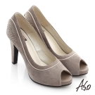 A.S.O 奢華時尚 絨面金屬鑽釦魚口高跟鞋 卡其
