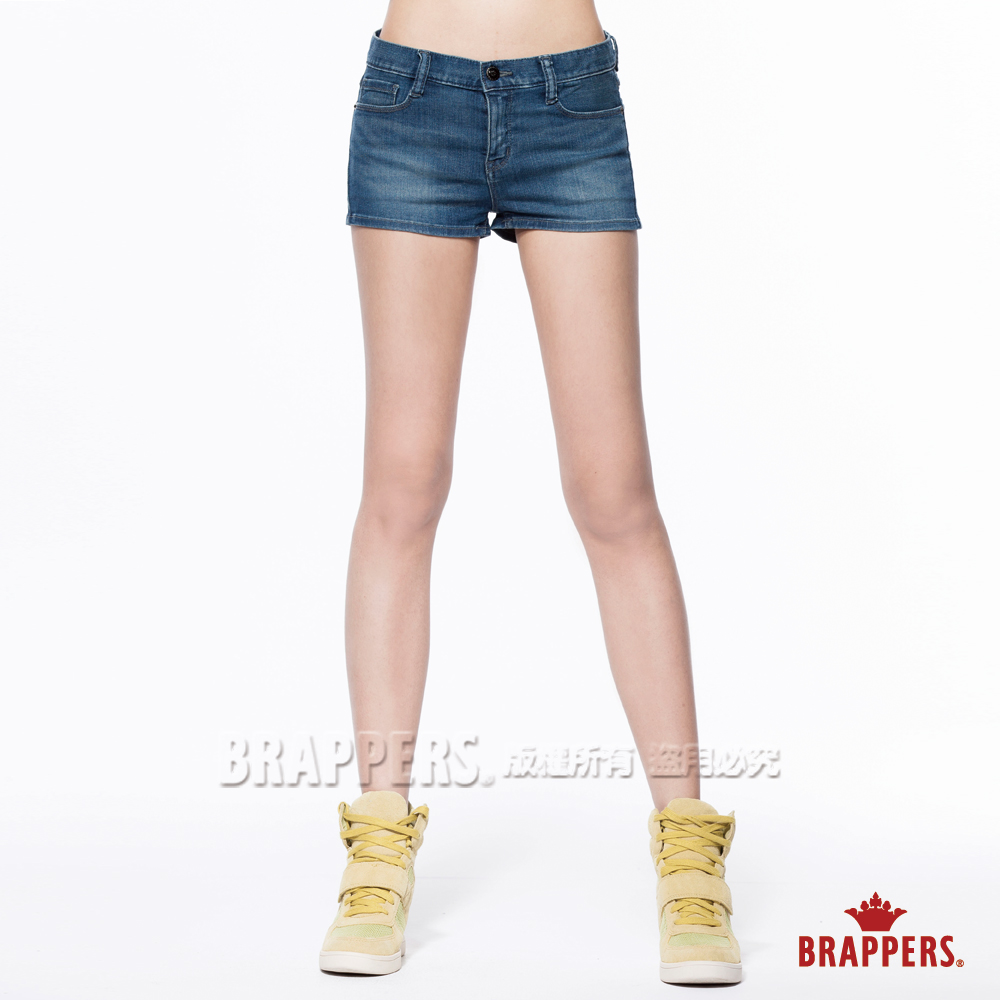 BRAPPERS 女款 新美腳Royal系列-女用彈性合身版熱褲-藍