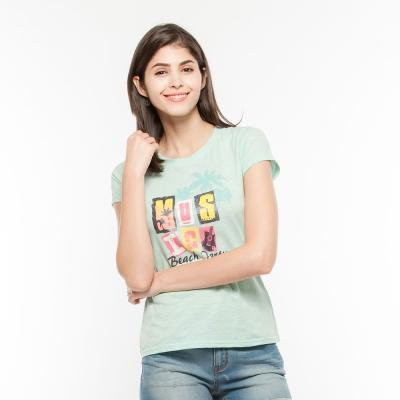 Hang Ten - 女裝 - 有機棉 音樂祭印圖T-Shirt-綠