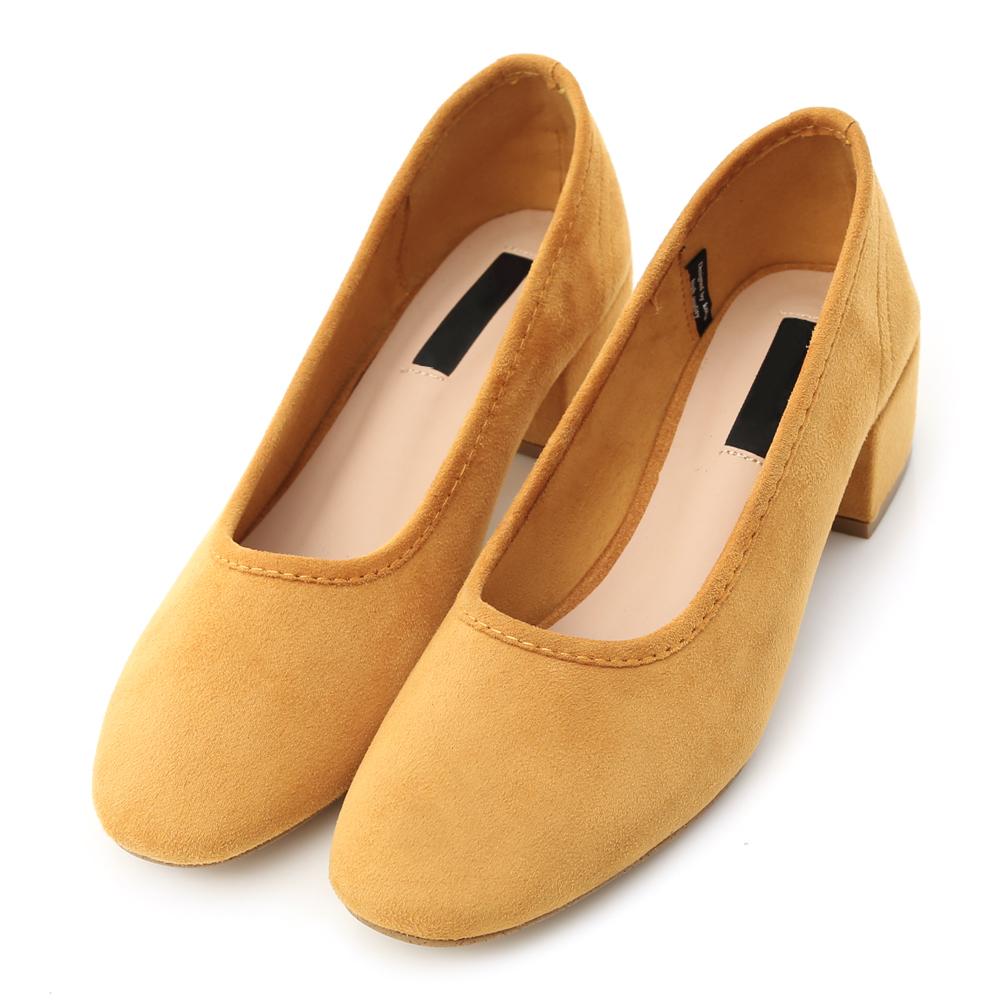 D AF 微風氣息.素面絨料小方頭低跟鞋*黃