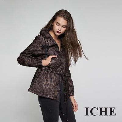 ICHE衣哲兩穿毛領可拆抽繩防風豹紋外套兩色-咖