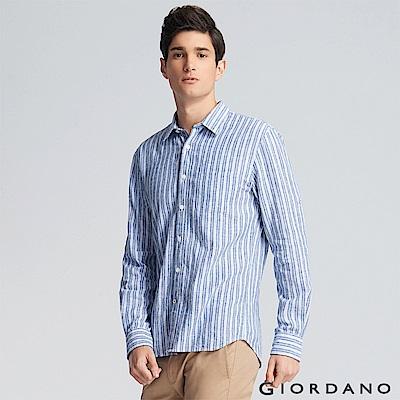 GIORDANO 男裝夏日休閒棉麻襯衫-05 海軍藍/白條紋