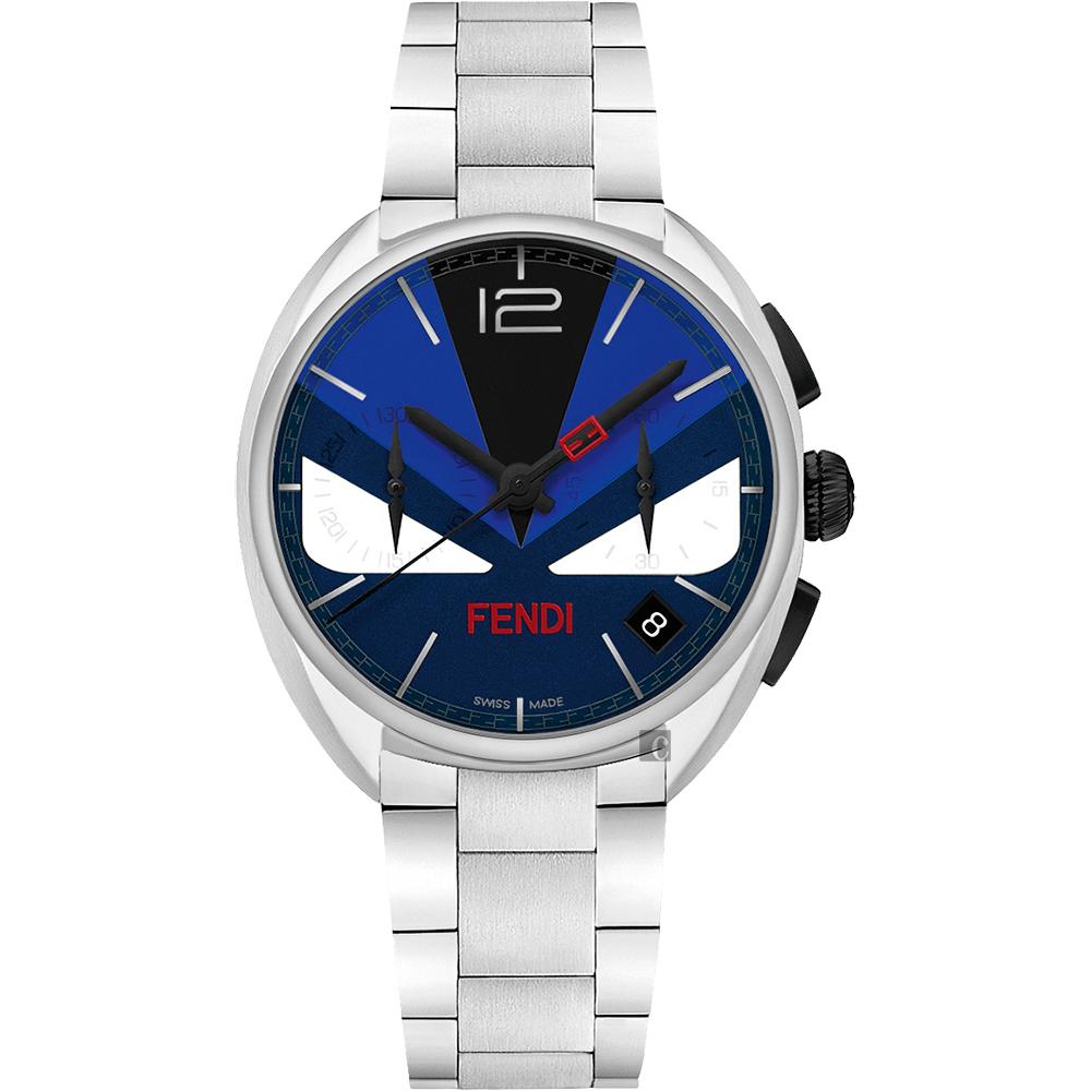 FENDI芬迪 Momento Bugs系列計時手錶-藍x銀/40mm