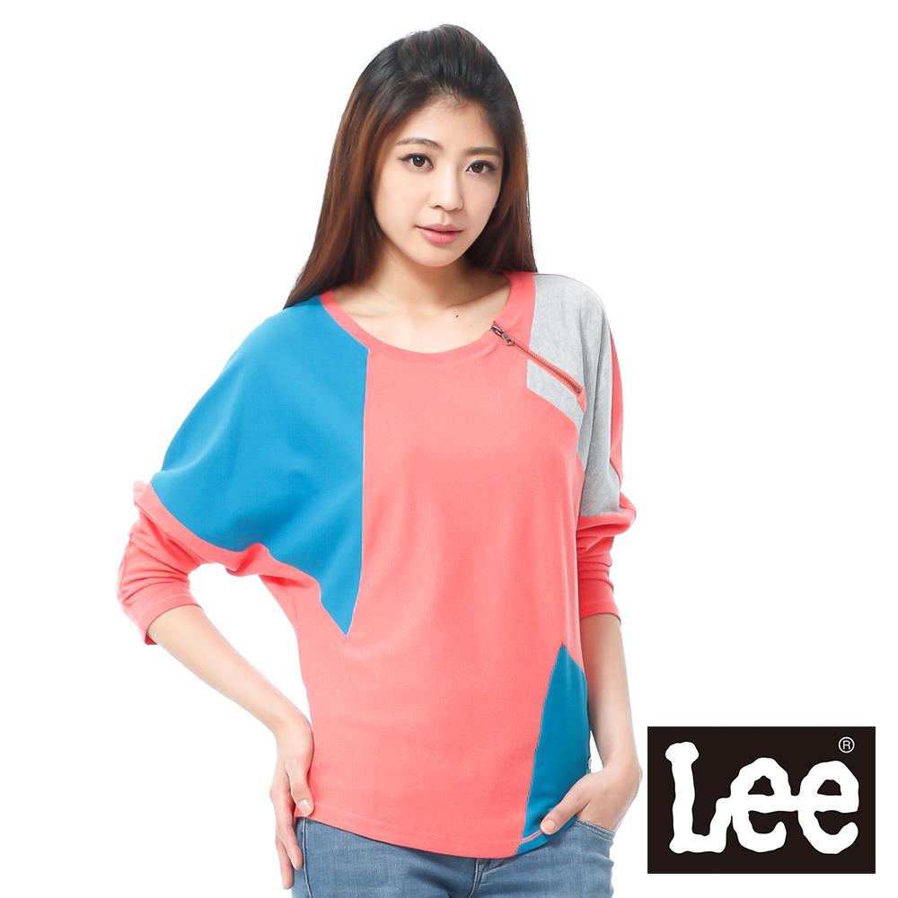 Lee 長袖厚T 棉布綢緞拼接 -女款(橘)