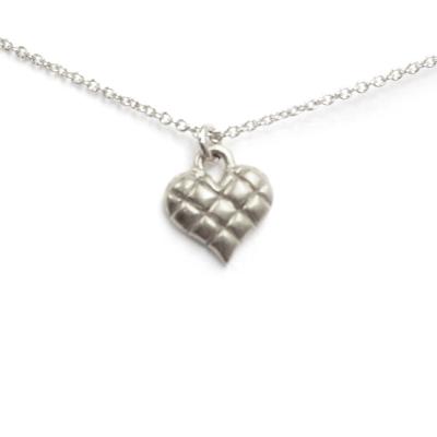 Dogeared 菱格紋愛心 quilted heart 溫暖我心 銀項鍊 附原廠盒