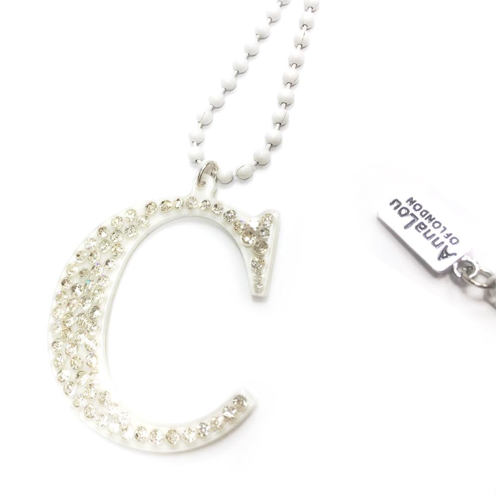 Anna Lou Of London 倫敦品牌 水晶字母項鍊 C 白色
