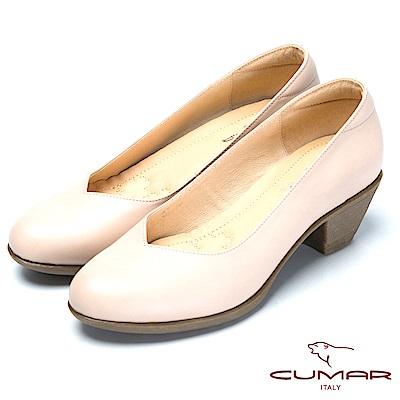CUMAR氣墊大底-嚴選真皮氣墊高跟鞋-米色色