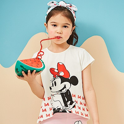 Disney 米妮系列蝴蝶結女孩圓領上衣 (2色可選)