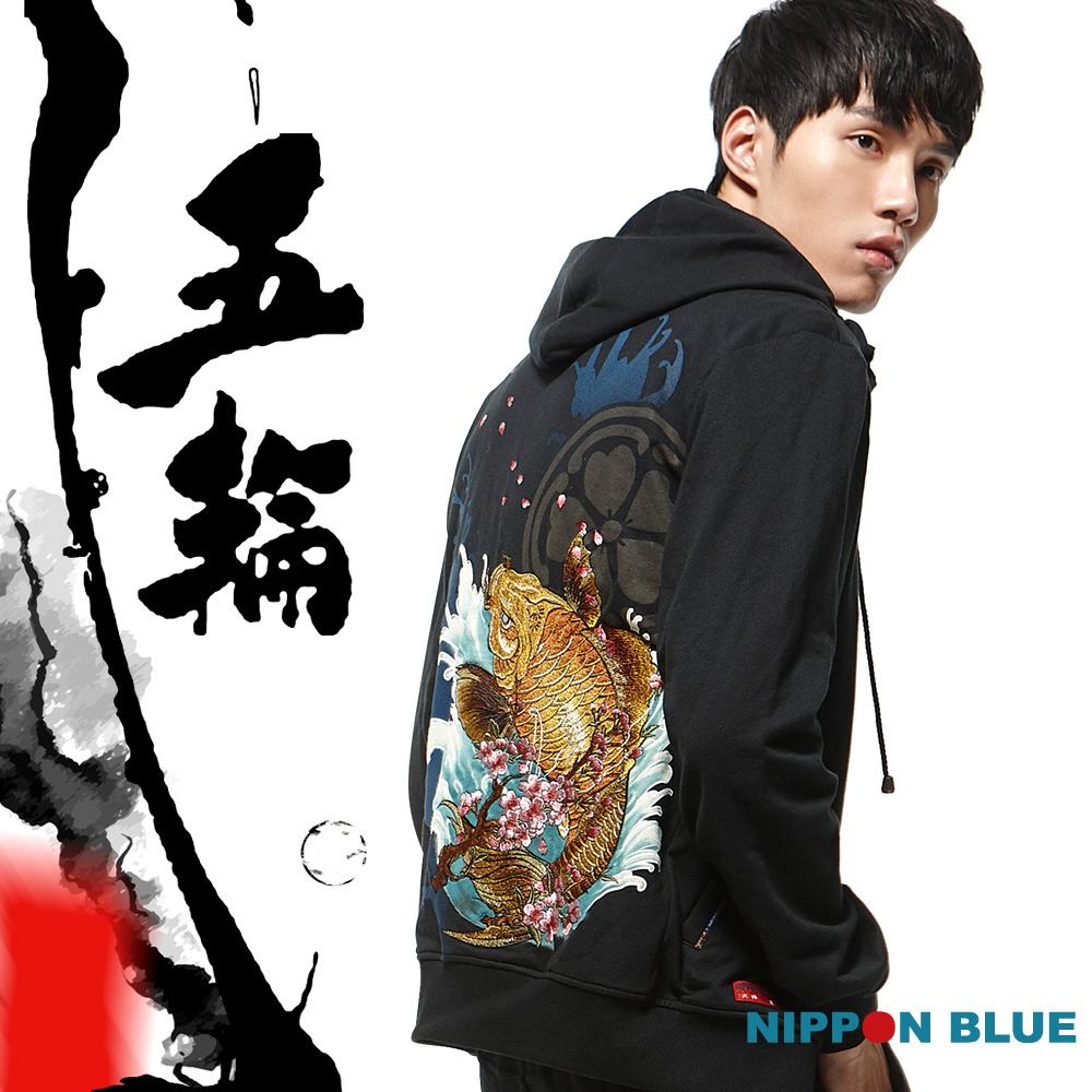 日本藍 BLUE WAY 黃金錦鯉精繡連帽外套-黑