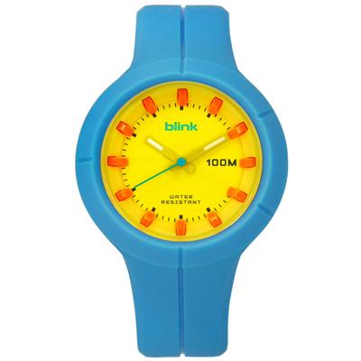 JAGA 捷卡  立體刻度指針夜光防水100M橡膠手錶-黃x藍/45mm