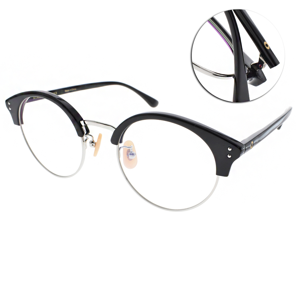 NINE ACCORD眼鏡 復古眉框/黑-銀#LENTOP YURI C04 @ Y!購物