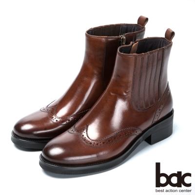 bac英倫學院 率性風格真皮短靴-咖啡色