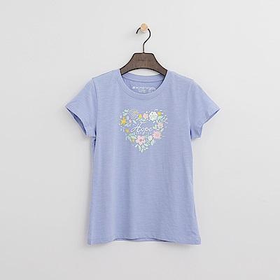 Hang Ten - 女裝 - 有機棉 花漾愛心T恤-淺藍色