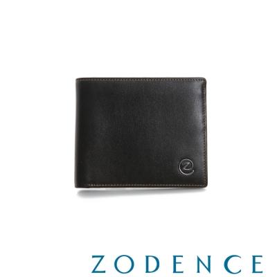 ZODENCE-MAN-優質真皮系列兩折經典窗短夾-咖