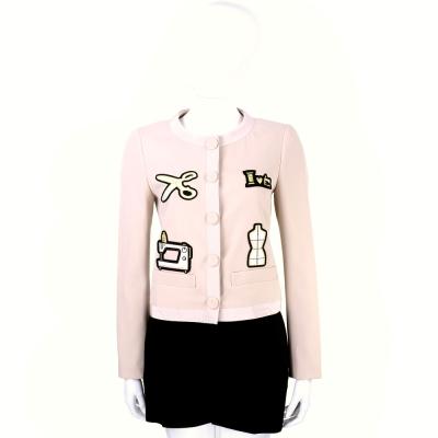 MOSCHINO 粉色裁縫拼貼設計排釦外套