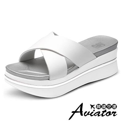 Aviator*韓國空運-PAPERPLANES正韓製交叉寬帶軟Q厚底涼拖鞋-白