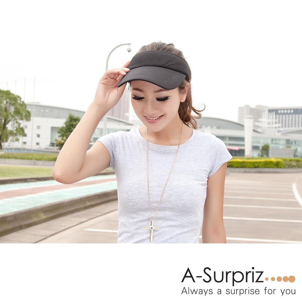 A-Surpriz 純色運動風空頂遮陽帽(黑)