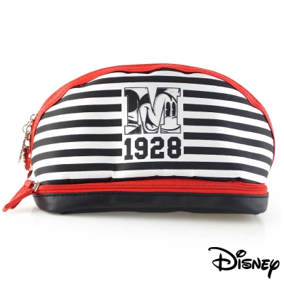 Disney迪士尼可愛撞色雙層收納/化妝包-條紋米奇1928
