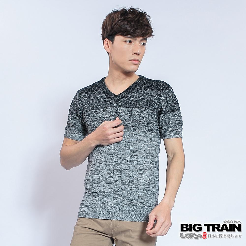 BIG TRAIN 麻花V領短袖線衫-男-黑色