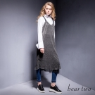 beartwo 銀蔥造型蕾絲內襯條紋吊帶裙(黑色)