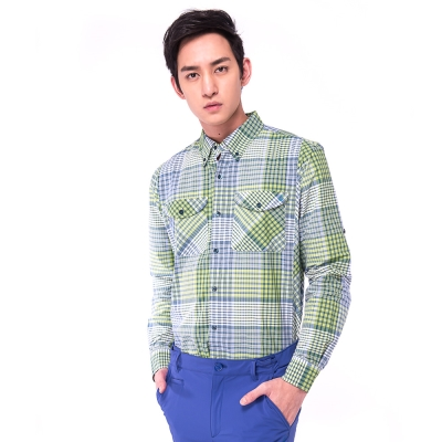 【hilltop山頂鳥】男款COOLTECH吸濕排汗抗UV長袖襯衫S05M56綠格紋