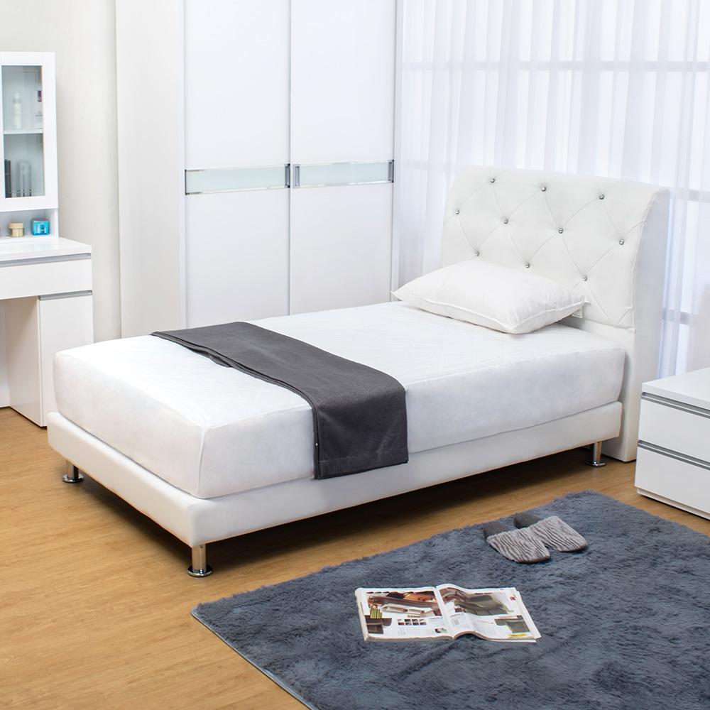 Boden 佩卡3.5尺白色皮革單人床組 床頭片+床底 不含床墊