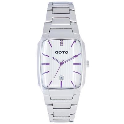 GOTO Laconic時尚腕錶-白x紫/34mm