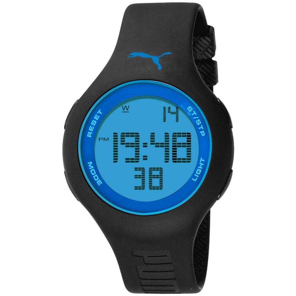 PUMA 陽光信號電子腕錶-黑x藍/44mm