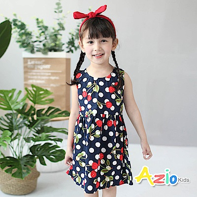 Azio Kids 童裝-洋裝 櫻桃圓點拉鍊背心洋裝(深藍)
