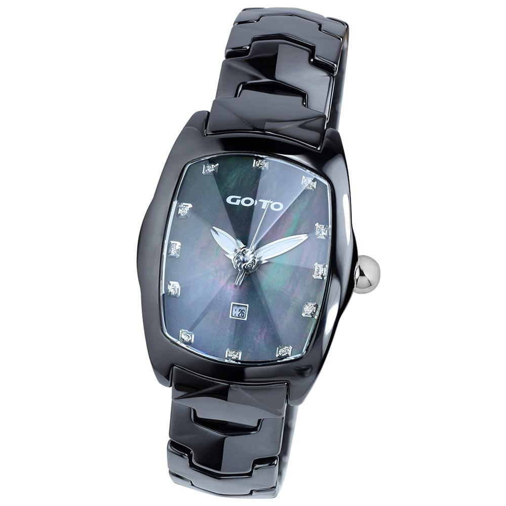 GOTO 簡約晶鑽陶瓷腕錶-黑/34mm