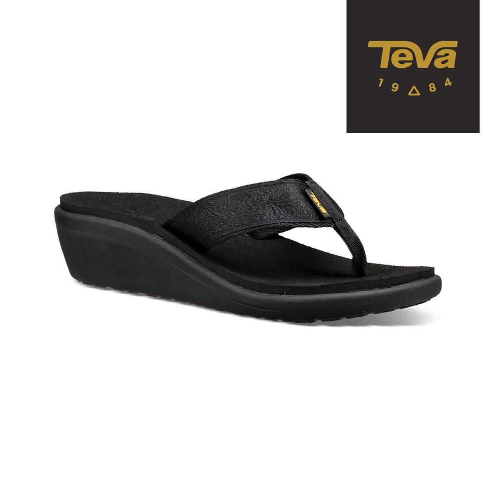 【TEVA】原廠貨 女 Voya Wedge 經典織帶夾腳跟鞋/雨鞋/水鞋(黑-TV1019043MBKT)