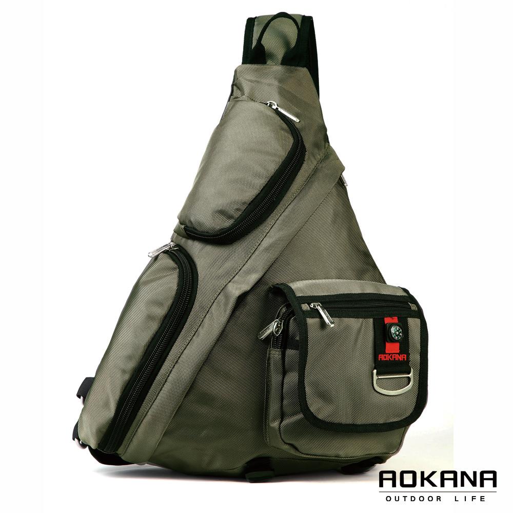 AOKANA奧卡納 輕量防潑水護脊紓壓機能單肩背包(軍綠)68-052