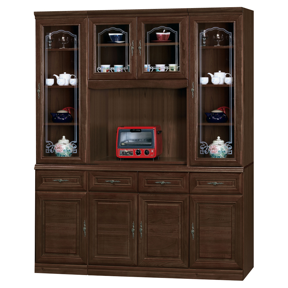 時尚屋義昇胡桃5.3尺四抽碗櫥櫃