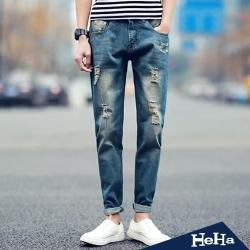 長褲 刷破仿舊修身窄管牛仔長褲 藍色-HeHa