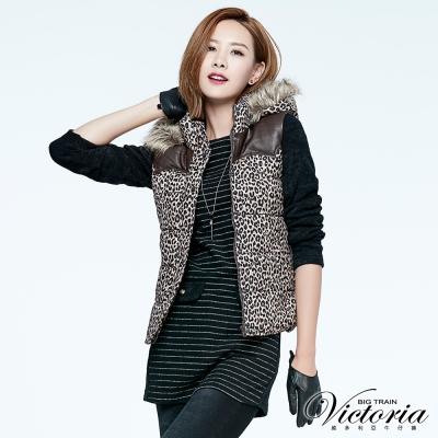 Victoria 假袋蓋異材質拼接長版長袖T-女-黑底白條紋