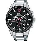 ALBA雅柏 ACTIVE 活力運動計時手錶(AT3D31X1)-黑x銀/43mm