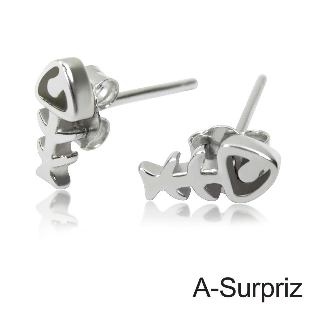 A-Surpriz 可愛迷你魚骨純銀耳環