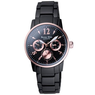 Roven Dino羅梵迪諾 星火燎原三環日曆腕錶-黑金/35mm