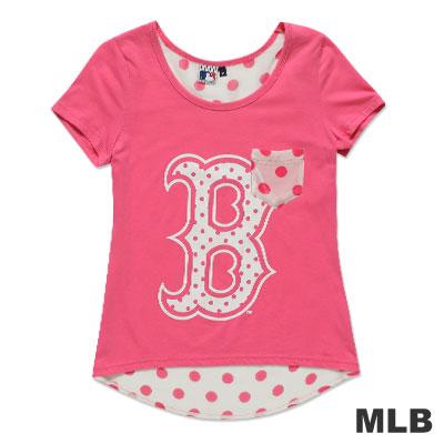 MLB-波士頓紅襪隊雪紡印花T恤-粉紅(女)