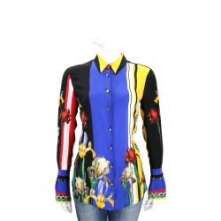 CLASS roberto cavalli 多彩色塊花卉絲質長袖襯衫