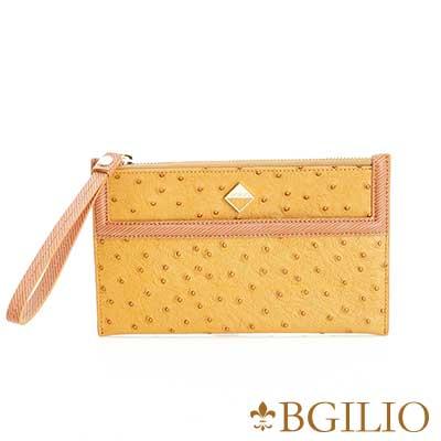 義大利BGilio 時尚駝鳥紋牛皮萬用包 -駝色1963.304A-04