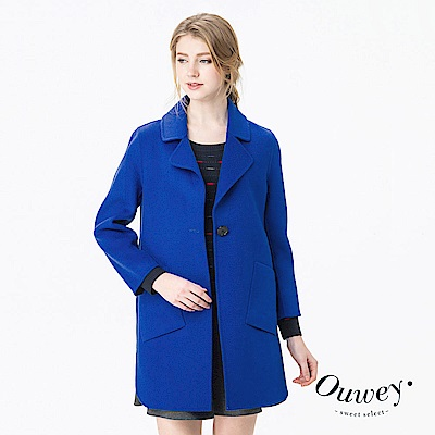 OUWEY歐薇 西裝領直版雙面毛料外套(紅/藍)
