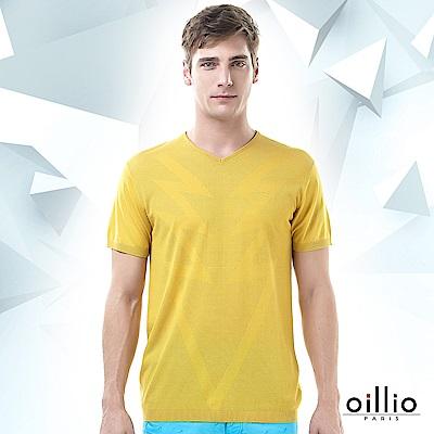 歐洲貴族oillio 短袖線衫 閃電造型 透氣休閒 黃色
