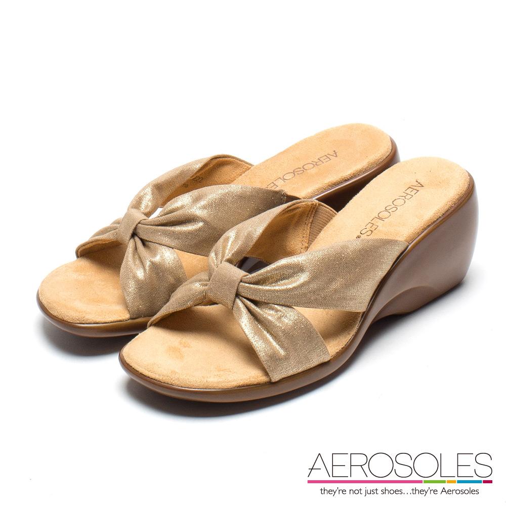 AEROSOLES 優雅女王交叉寬版繫帶厚底休閒涼鞋~氣質金