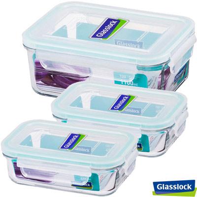 Glasslock強化玻璃保鮮盒經典系列 - 精緻實用3件組