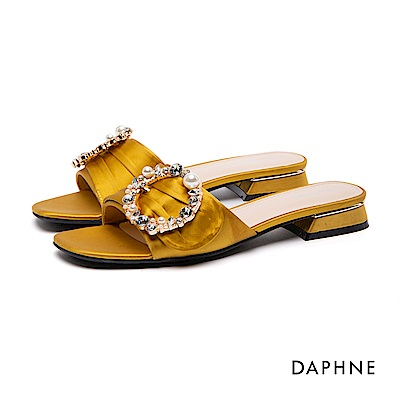 達芙妮DAPHNE 涼鞋-水鑽珠飾布面低跟涼鞋-黃