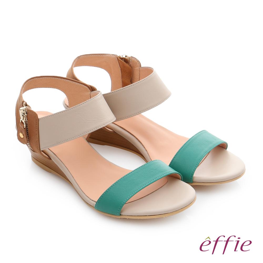 effie 嬉皮假期 真皮小坡跟簡約配色涼拖鞋 淺綠色